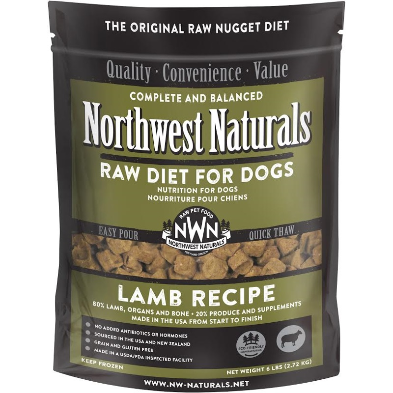 Northwest Naturals Raw Diet Grain-Free Lamb Nuggets Raw Frozen Dog Food 6lbs