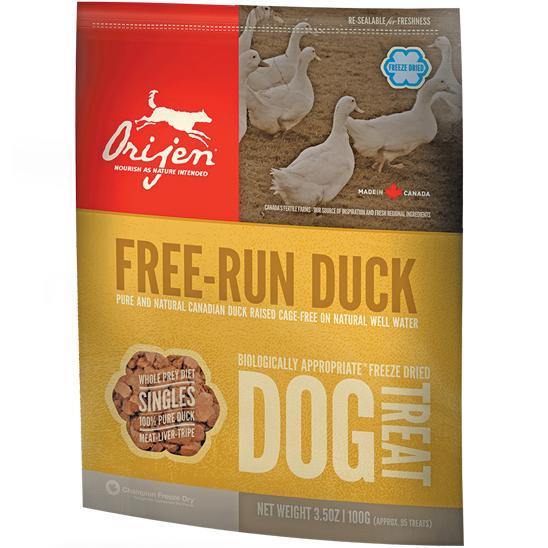 Orijen Free Run Duck Singles Freeze Dried Grain-Free Dog Treats 3.5z