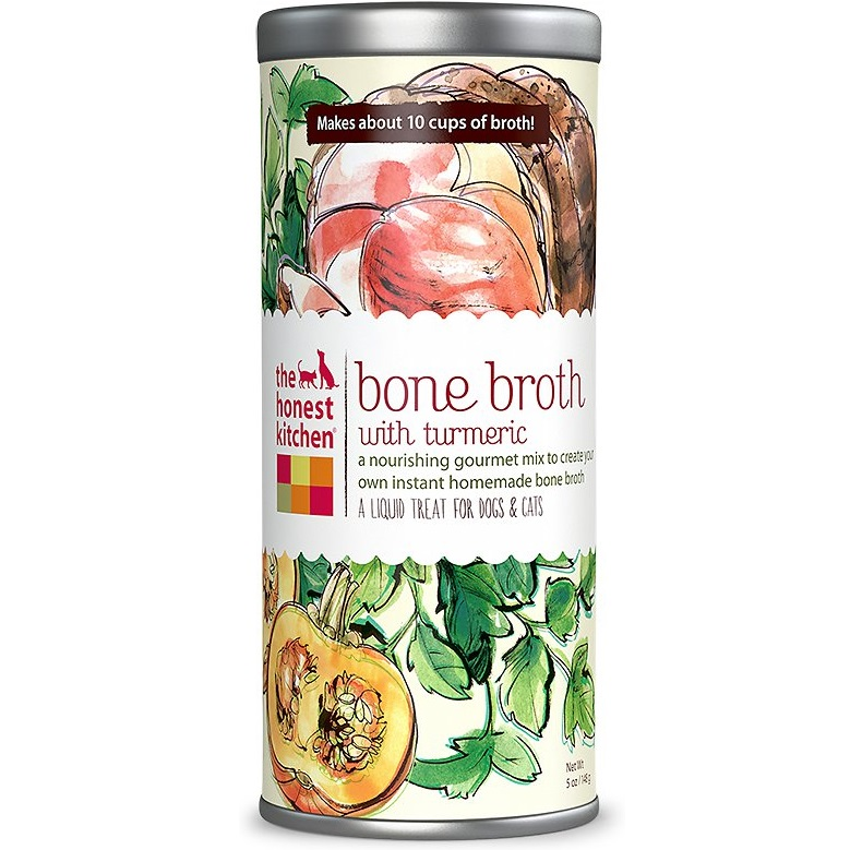 The Honest Kitchen Bone Broth with Turmeric Liquid Treats for Dogs & Cats 5z