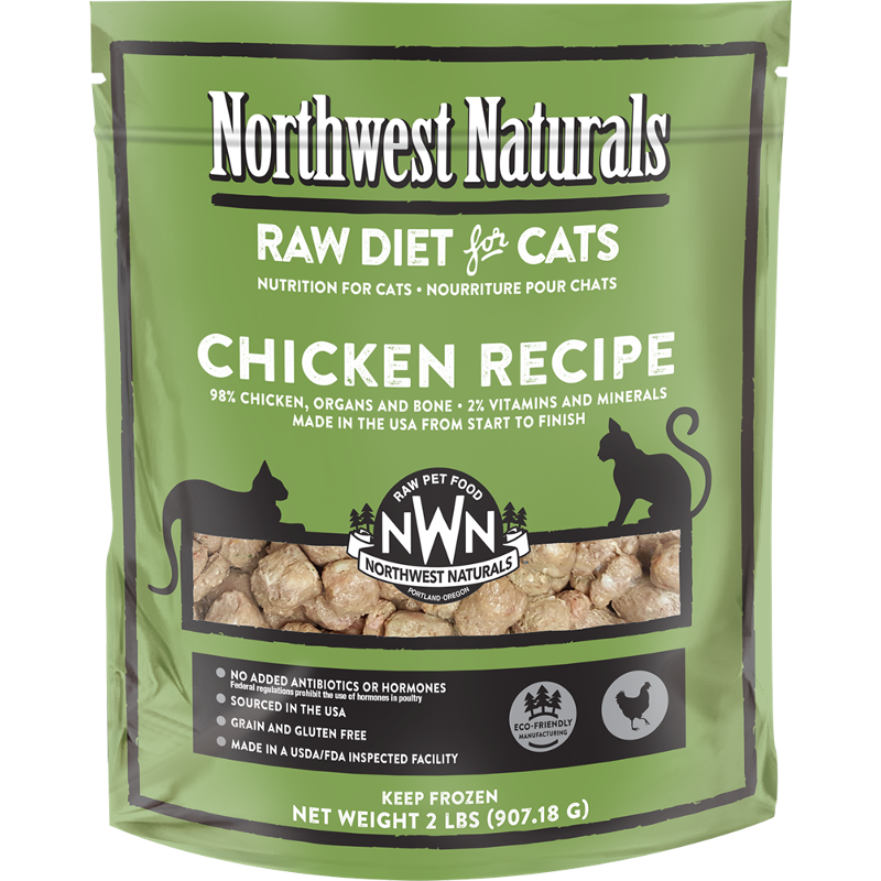 Northwest Naturals Raw Diet Grain-Free Chicken Nibbles Frozen Cat Food 2lbs