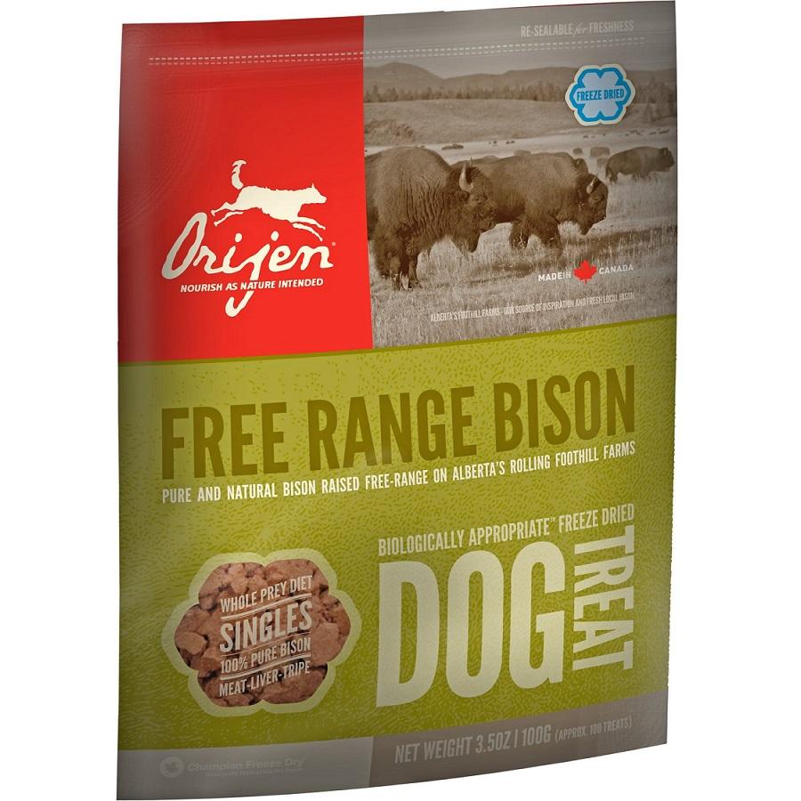 Orijen Free Range Bison Singles Freeze Dried Grain-Free Dog Treats 3.5z