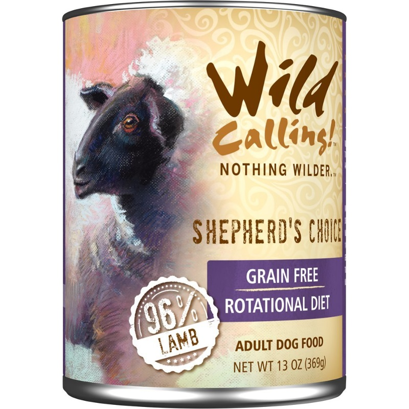 Wild Calling Shepherd's Choice 96% Lamb Grain-Free Adult Canned Dog Food 13z, 12