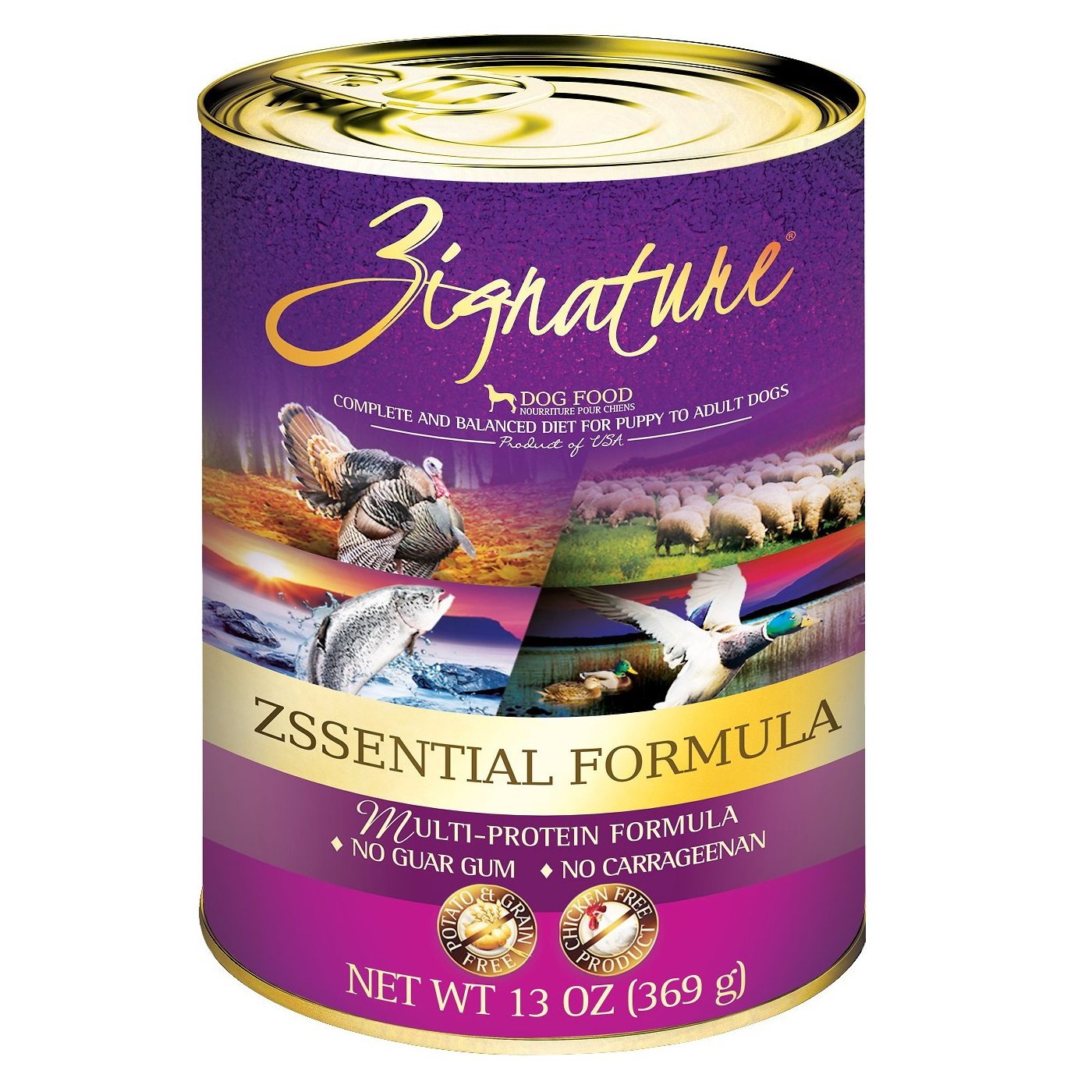 Zignature Zssential Multi-Protein Formula Canned Dog Food 13z, 12