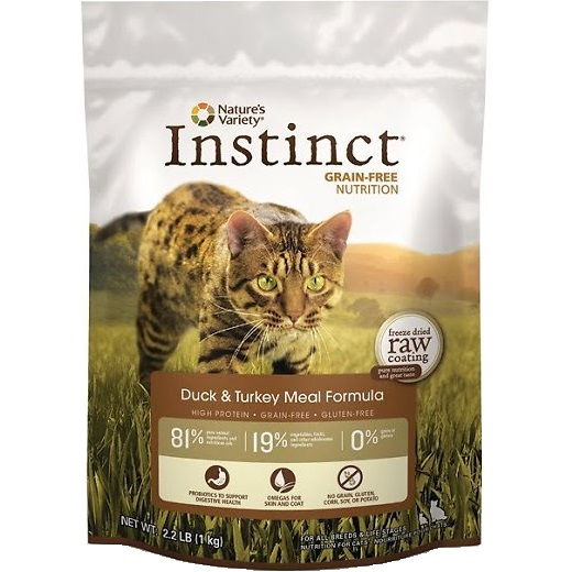 Nature's Variety Instinct Grain-Free Duck & Turkey Meal Formula Dry Cat Food 2.2lbs d