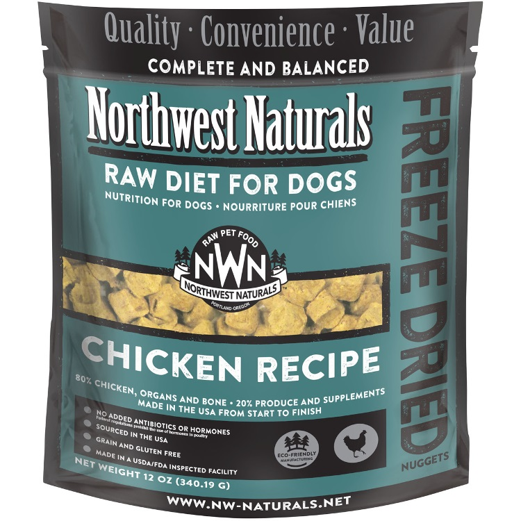 Northwest Naturals Raw Diet Grain-Free Chicken Nuggets Freeze Dried Dog Food 12z