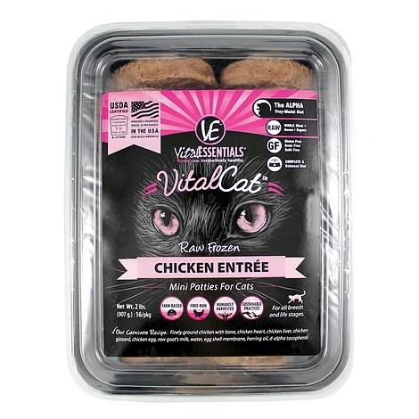Vital Essentials Vital Cat Grain-Free Chicken Mini Patties Raw Frozen Cat Food 2lbs, 4