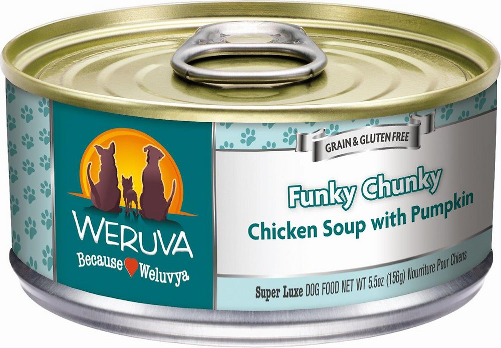 Weruva Funky Chunky Chicken Soup with Pumpkin Grain-Free Canned Dog Food 5.5z, 24