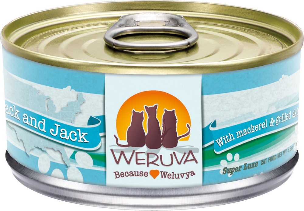Weruva Grain-Free Mack and Jack with Mackerel & Grilled Skipjack Canned Cat Food 5.5z, 24