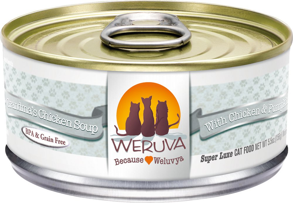 Weruva Grain-Free Grandma's Chicken Soup with Chicken & Pumpkin Canned Cat Food 5.5z, 24
