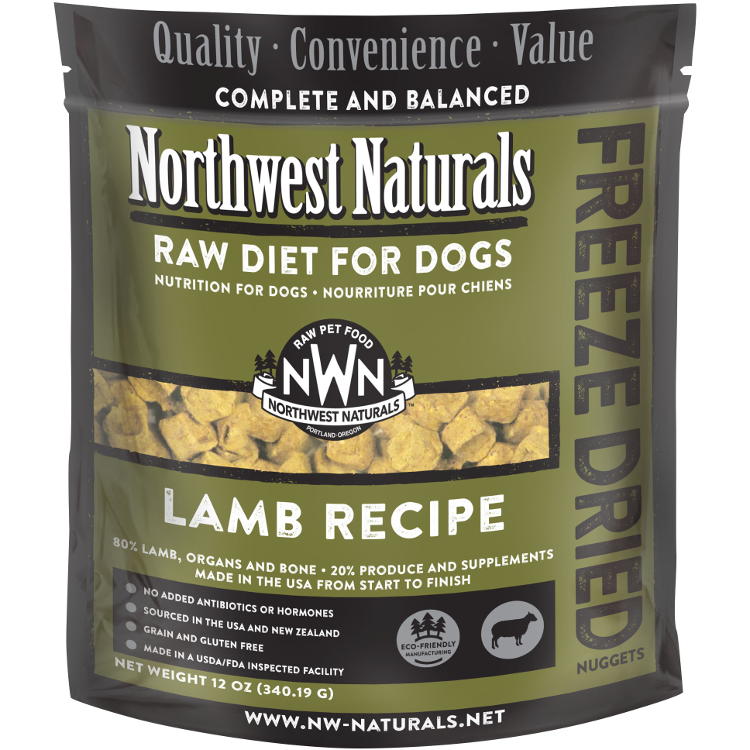 Northwest Naturals Raw Diet Grain-Free Lamb Nuggets Freeze Dried Dog Food 12z