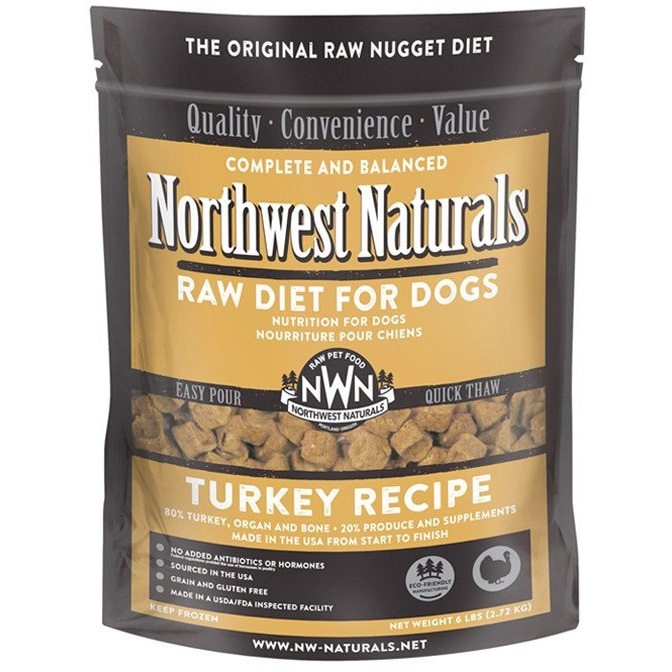 Northwest Naturals Raw Diet Grain-Free Turkey Nuggets Raw Frozen Dog Food 6lbs