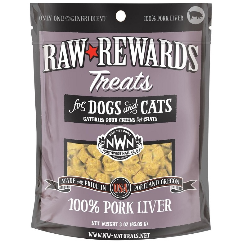 Northwest Naturals Raw Rewards Pork Liver Freeze Dried Dog & Cats Treats 3z