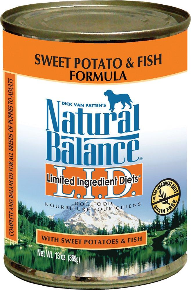 Natural Balance Grain-Free L.I.D. Limited Ingredient Diets Sweet Potato & Fish Formula Canned Dog Food 13z, 12