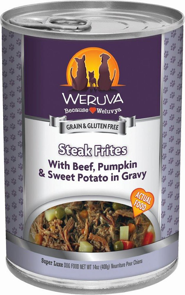 Weruva Steak Frites with Beef, Pumpkin & Sweet Potatoes in Gravy Grain-Free Canned Dog Food 14z, 12