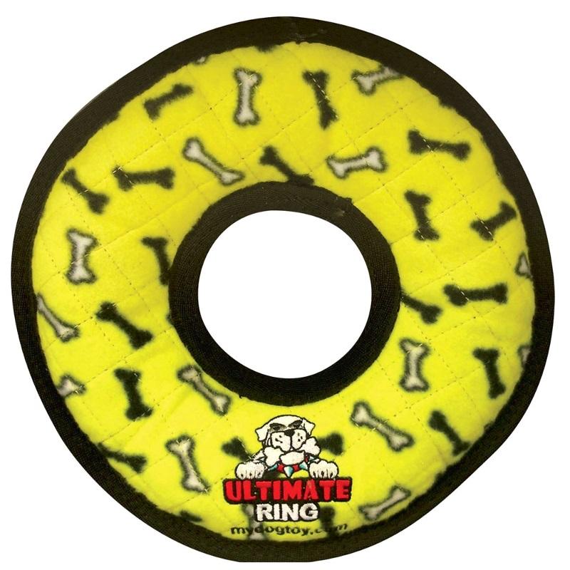 Tuffy Ultimate Ring Dog Toy - 'Yellow Bones'