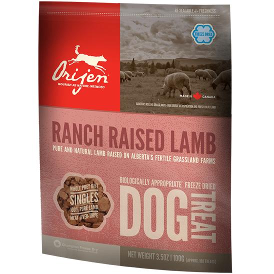 Orijen Ranch Raised Lamb Singles Freeze Dried Grain-Free Dog Treats 3.5z