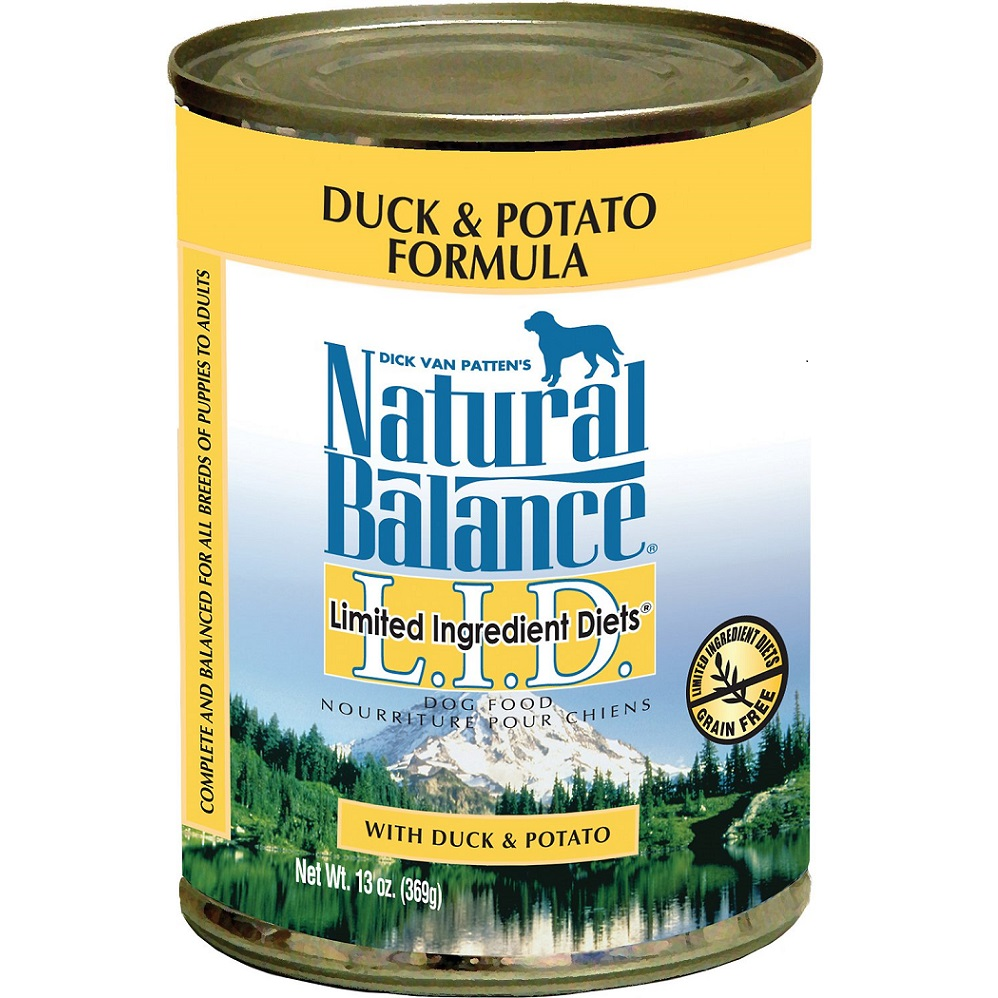 Natural Balance Grain-Free L.I.D. Limited Ingredient Diets Duck & Potato Formula Canned Dog Food 13z, 12