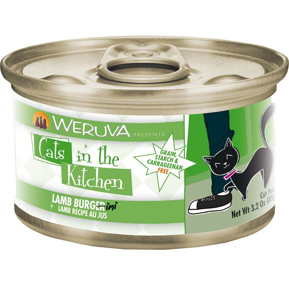 Weruva Cats in the Kitchen Lamb Burgini, Lamb Au Jus Grain-Free Canned Cat Food 3.2z, 24