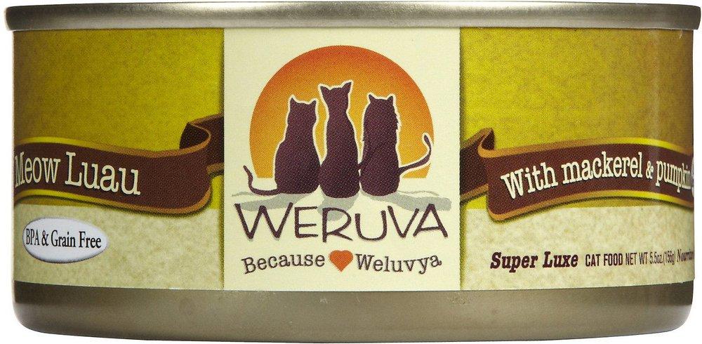 Weruva Grain-Free Meow Luau with Mackerel & Pumpkin Canned Cat Food 5.5, 24