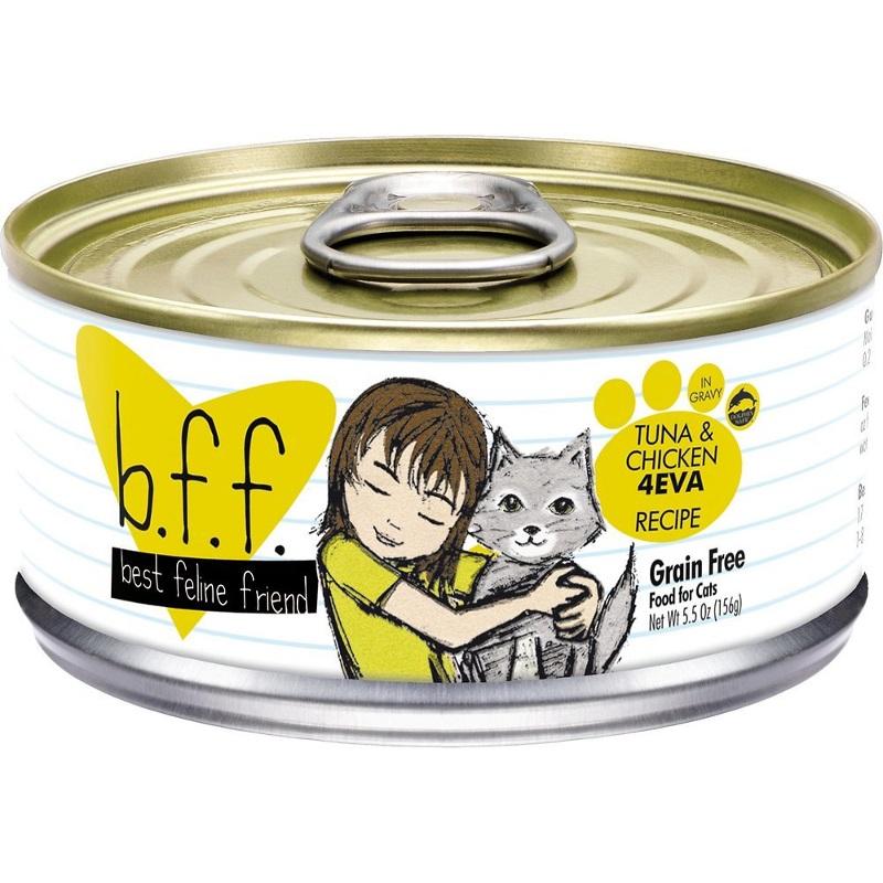 Weruva BFF Grain-Free Tuna & Chicken 4EVA Recipe in Gravy Canned Cat Food 5.5z, 24