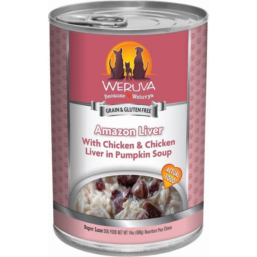 Weruva Amazon Liver with Chicken & Chicken Liver in Pumpkin Soup Grain-Free Canned Dog Food 14z, 12