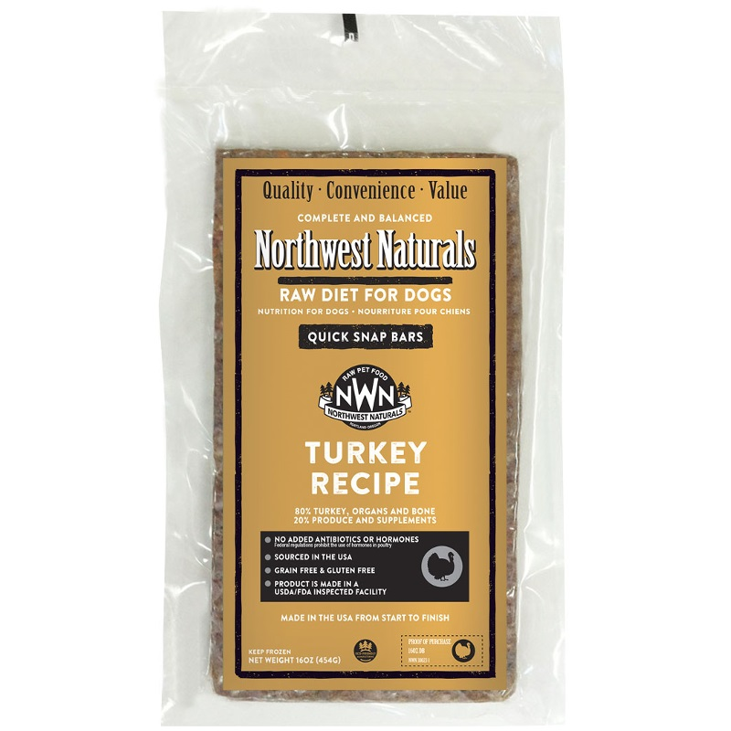 Northwest Naturals Raw Diet Grain-Free Turkey Dinner Bar Raw Frozen Dog Food - BULK 25lbs