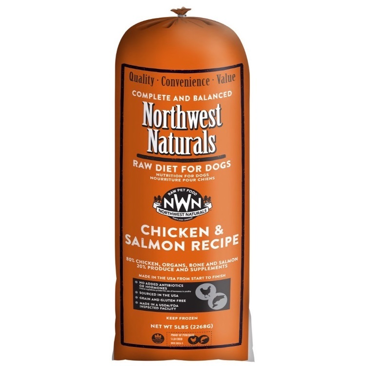 Northwest Naturals Raw Diet Grain-Free Chicken & Salmon Chub Roll Raw Frozen Dog Food 5lbs