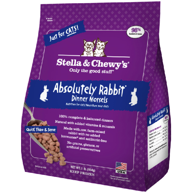 Stella & Chewy's Absolutely Rabbit Dinner Morsels Raw Frozen Cat Food 1lbs