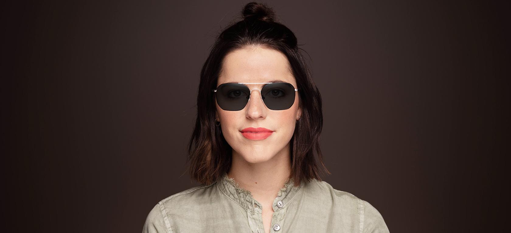 Image of model wearing frame