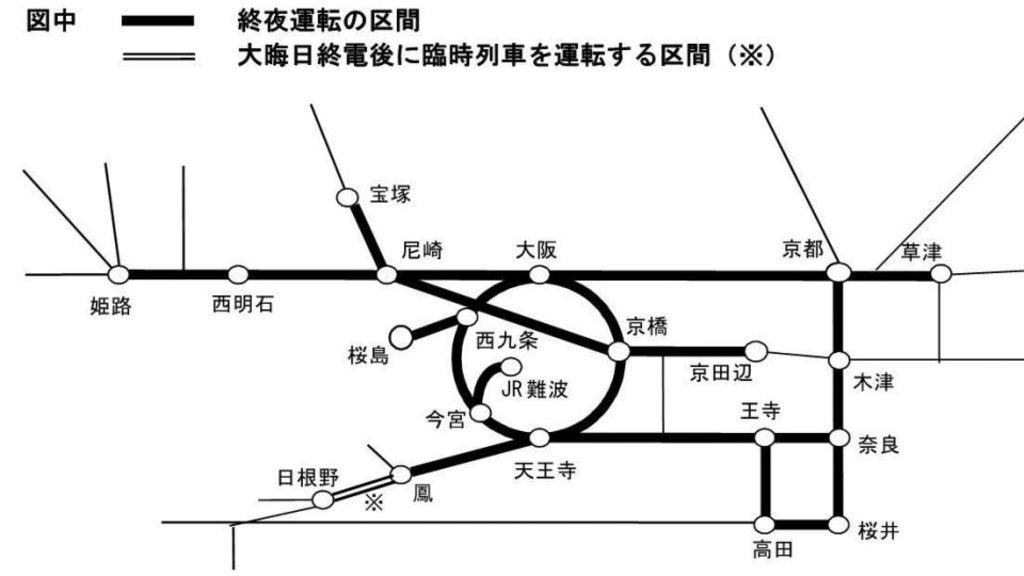 大阪JR及私鐵年尾通宵車資料 大阪自由行