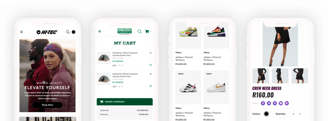 Examples of online mobile shopping sites we have created for some of our clients.