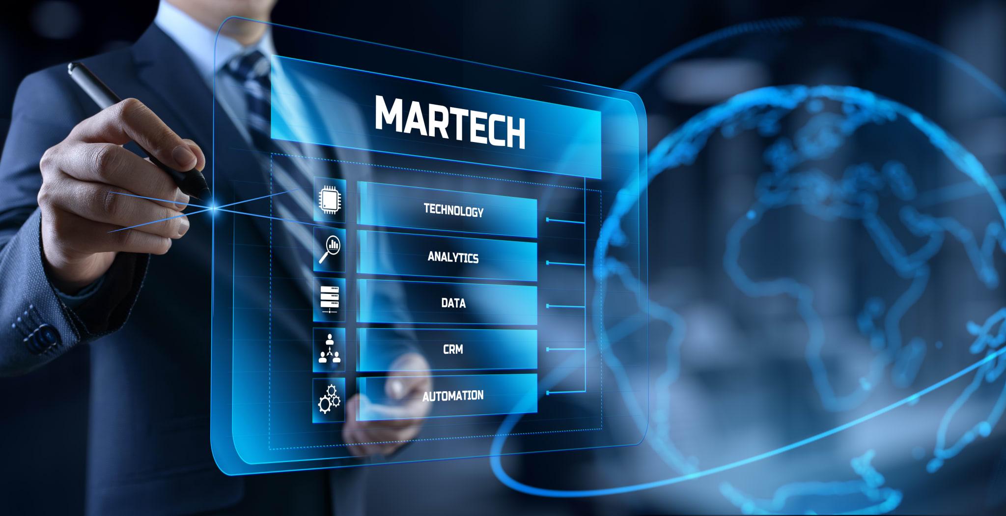 Martech marketing technology concept on virtual screen interface