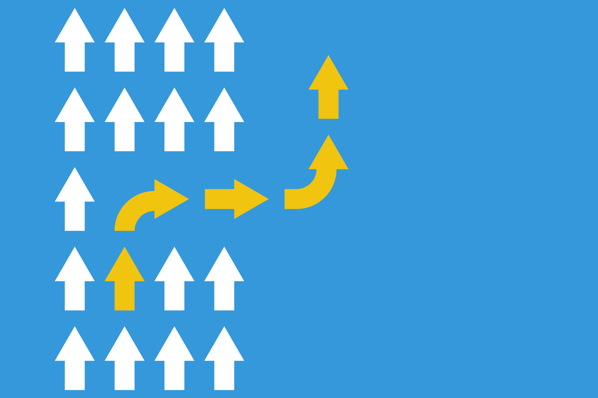 white arrows group in one direction and yellow arrow with different way, business innovations or new strategy vector concept