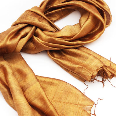 Raw Silk Scarf with Texture & Slubs