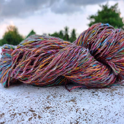 Recycled Sari Silk Sliver Made Yarn