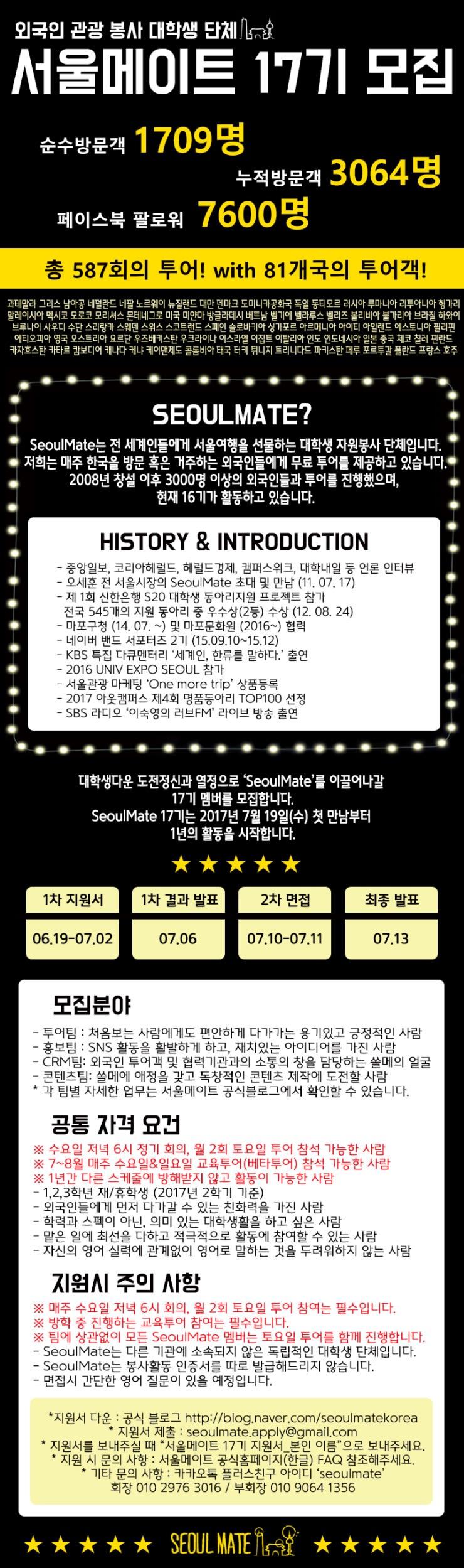 외국인관광봉사동아리 서울메이트 17기 모집