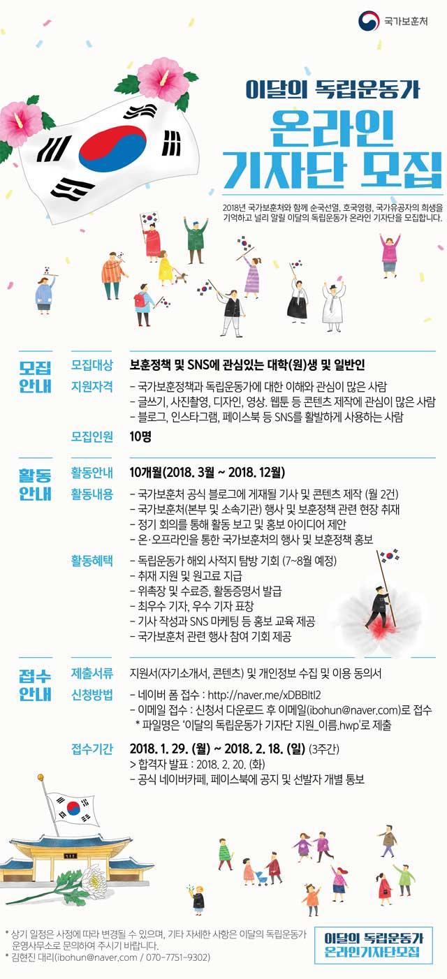 [국가보훈처] 이달의 독립운동가 온라인 기자단 모집