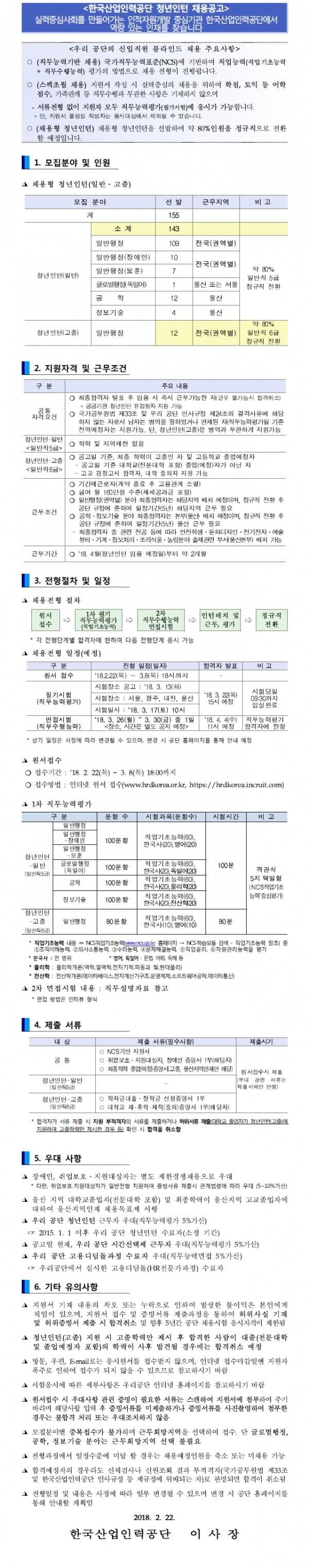 [한국산업인력공단] 청년인턴 채용공고