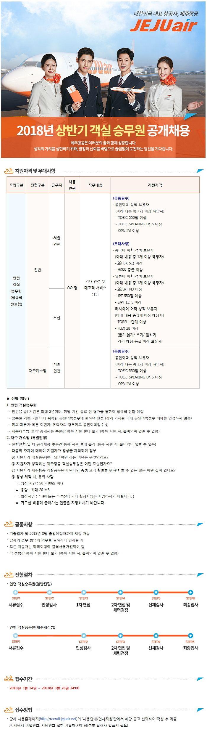 [제주항공] 2018 상반기 공개채용(객실승무원)