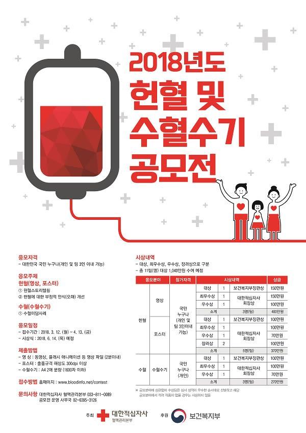 2018년도 헌혈 및 수혈 수기 공모전
