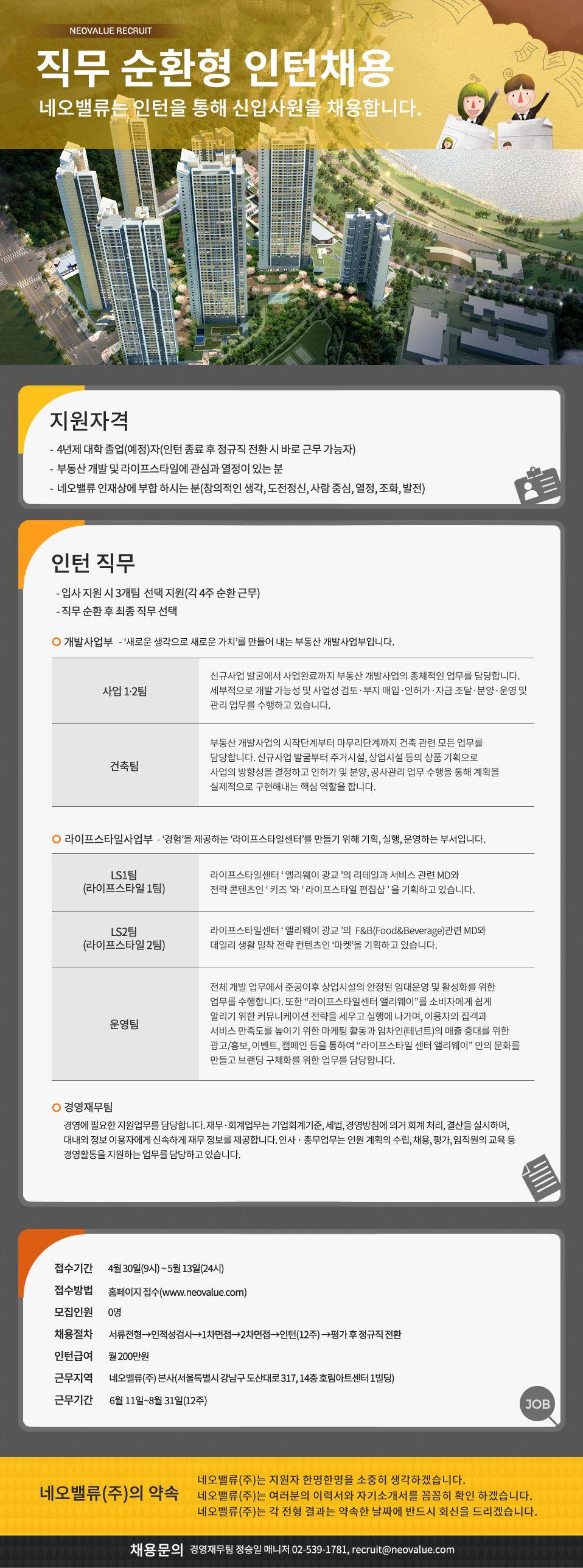 [네오밸류] 2018년 상반기 직무 순환형 인턴 채용
