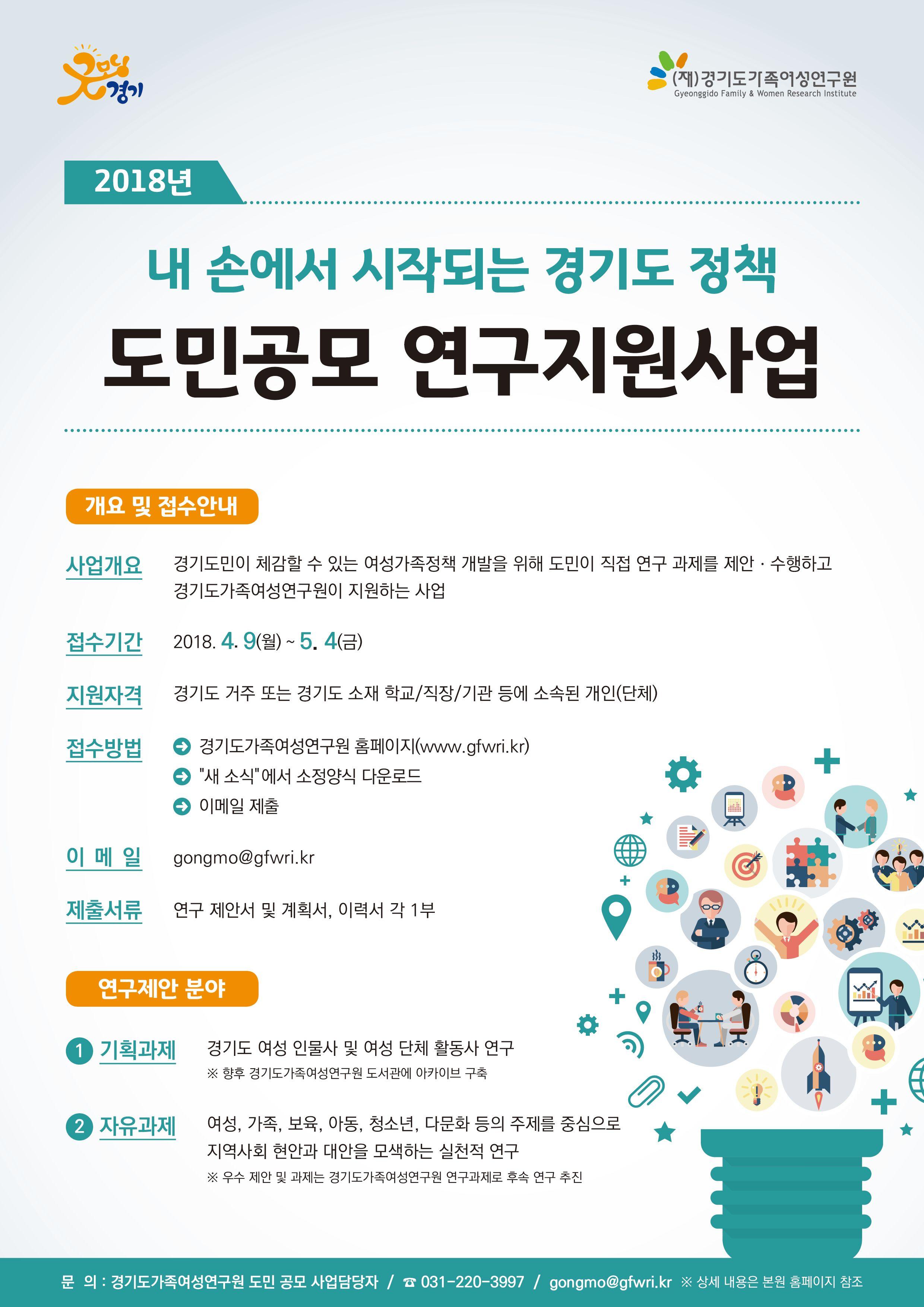 [(재)경기도가족여성연구원] '내 손에서 시작되는 경기도 정책' 2018년 도민공모 연구지원사업