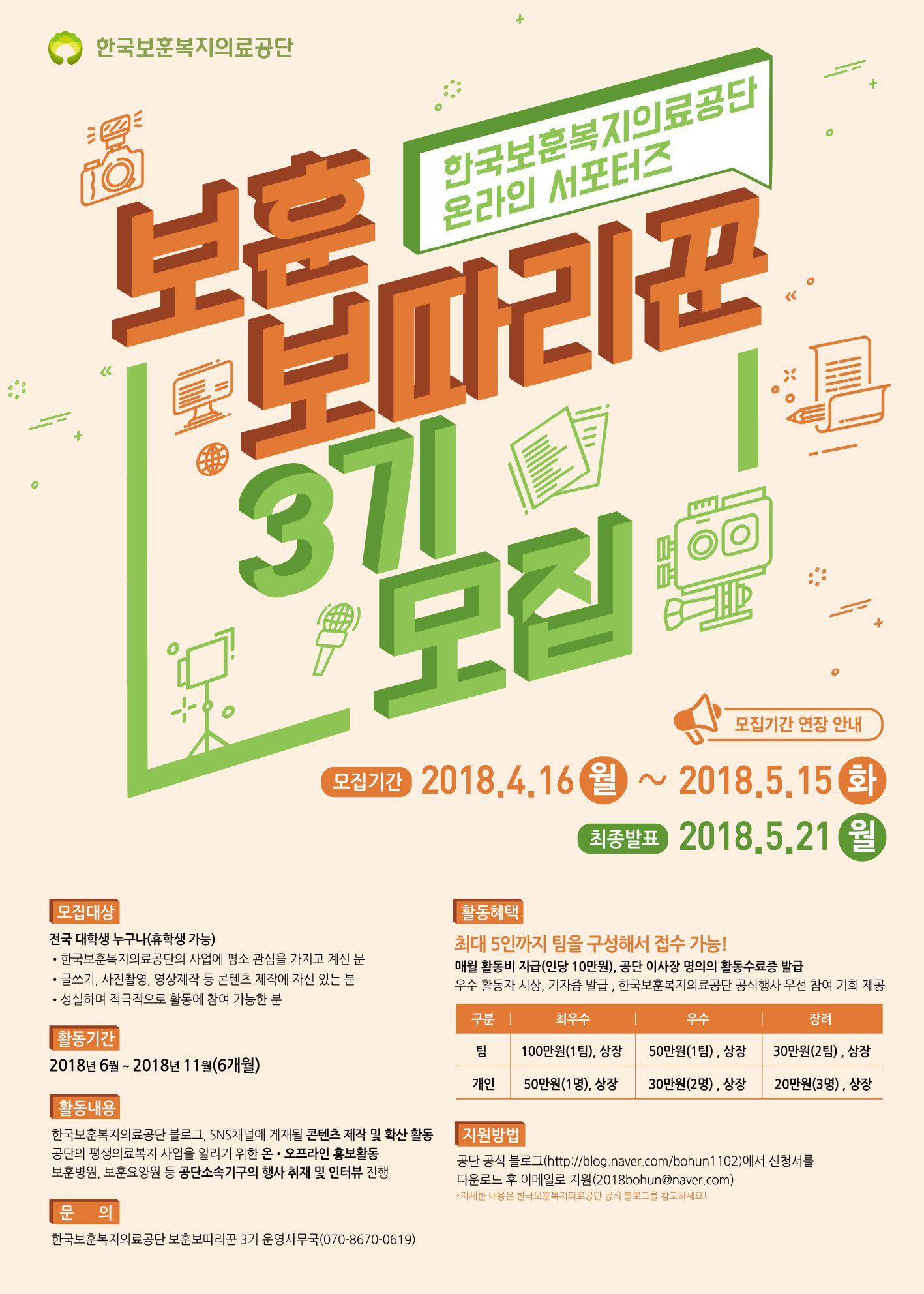 [한국보훈복지의료공단] 대학생 온라인 서포터즈 보훈보따리꾼 모집!