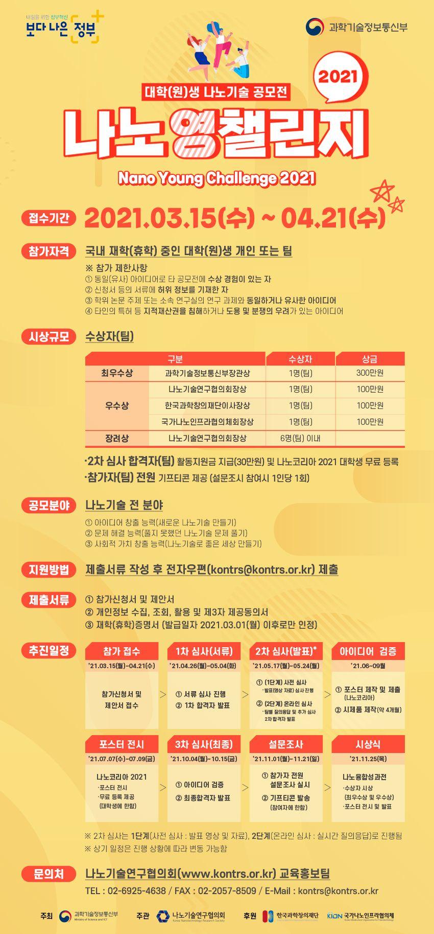 대학(원)생 나노기술 공모전 : 나노영챌린지 2021(주최 : 과학기술정보통신부)
