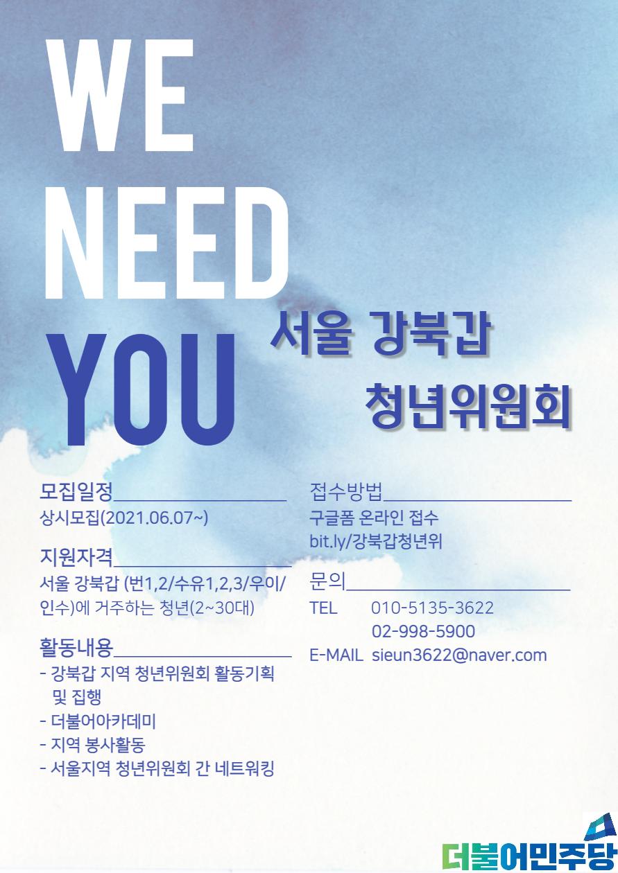 더불어민주당 서울 강북(갑) 청년위원회 모집