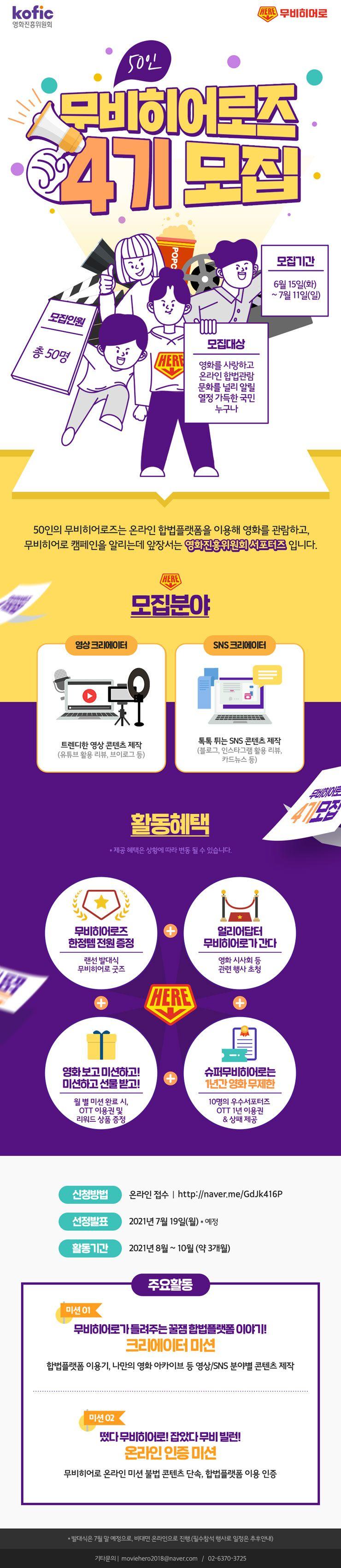 영화진흥위원회 50인의 무비히어로즈 4기 모집