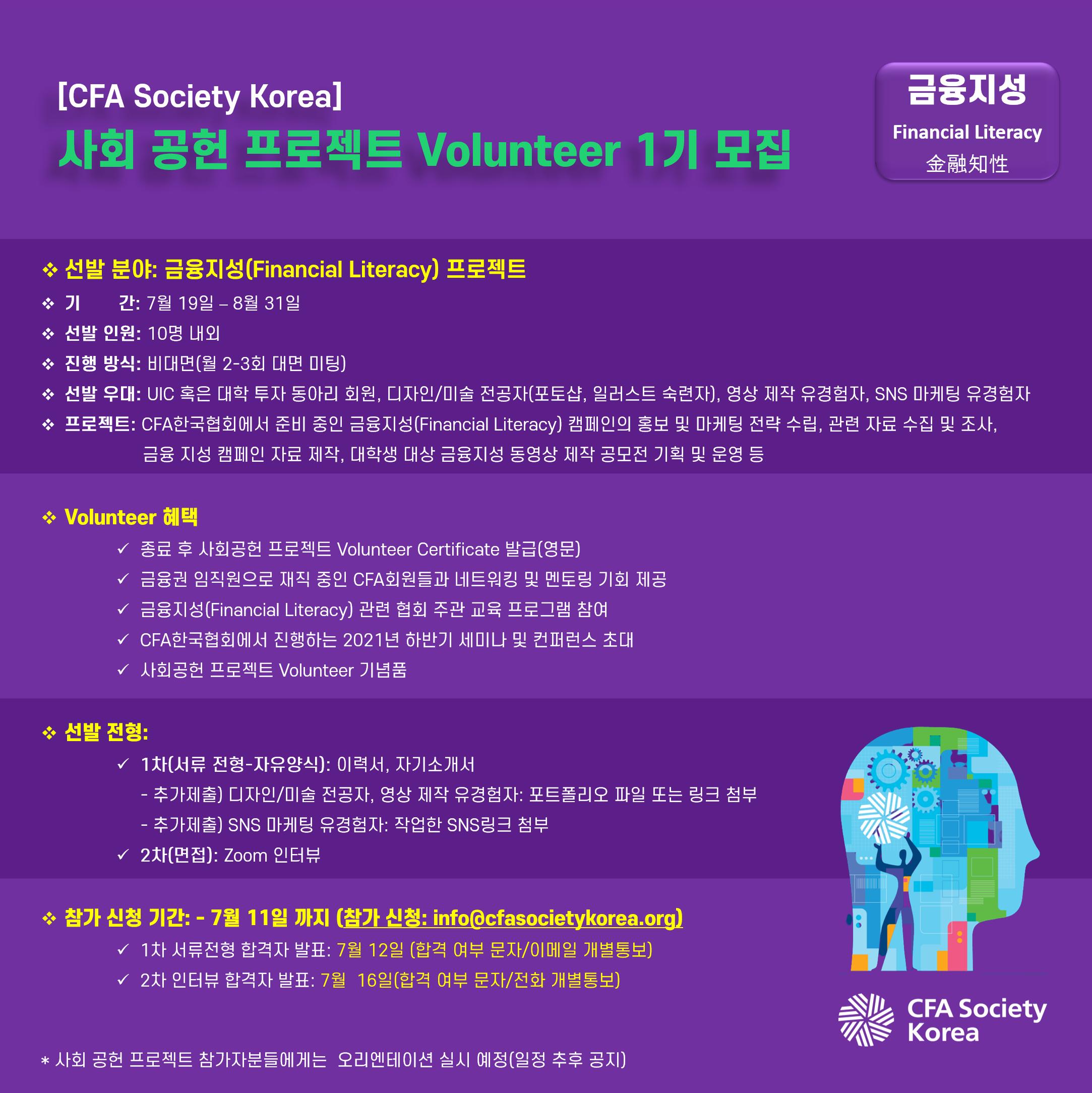 [CFA한국협회] 사회공헌 프로젝트 Volunteer 1기 (금융지성)