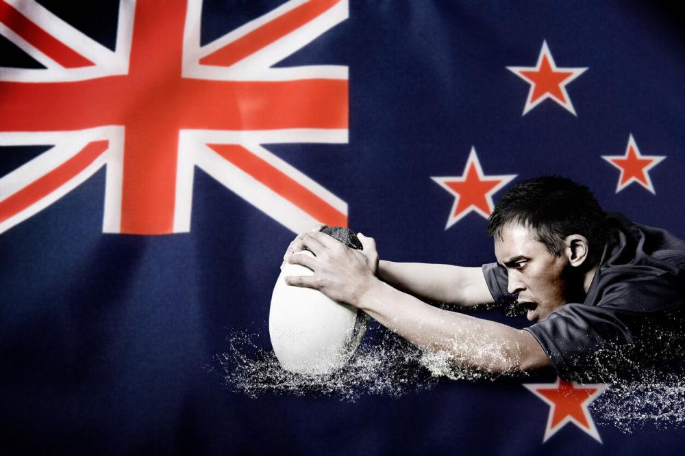 ニュージーランド国旗とラグビー選手