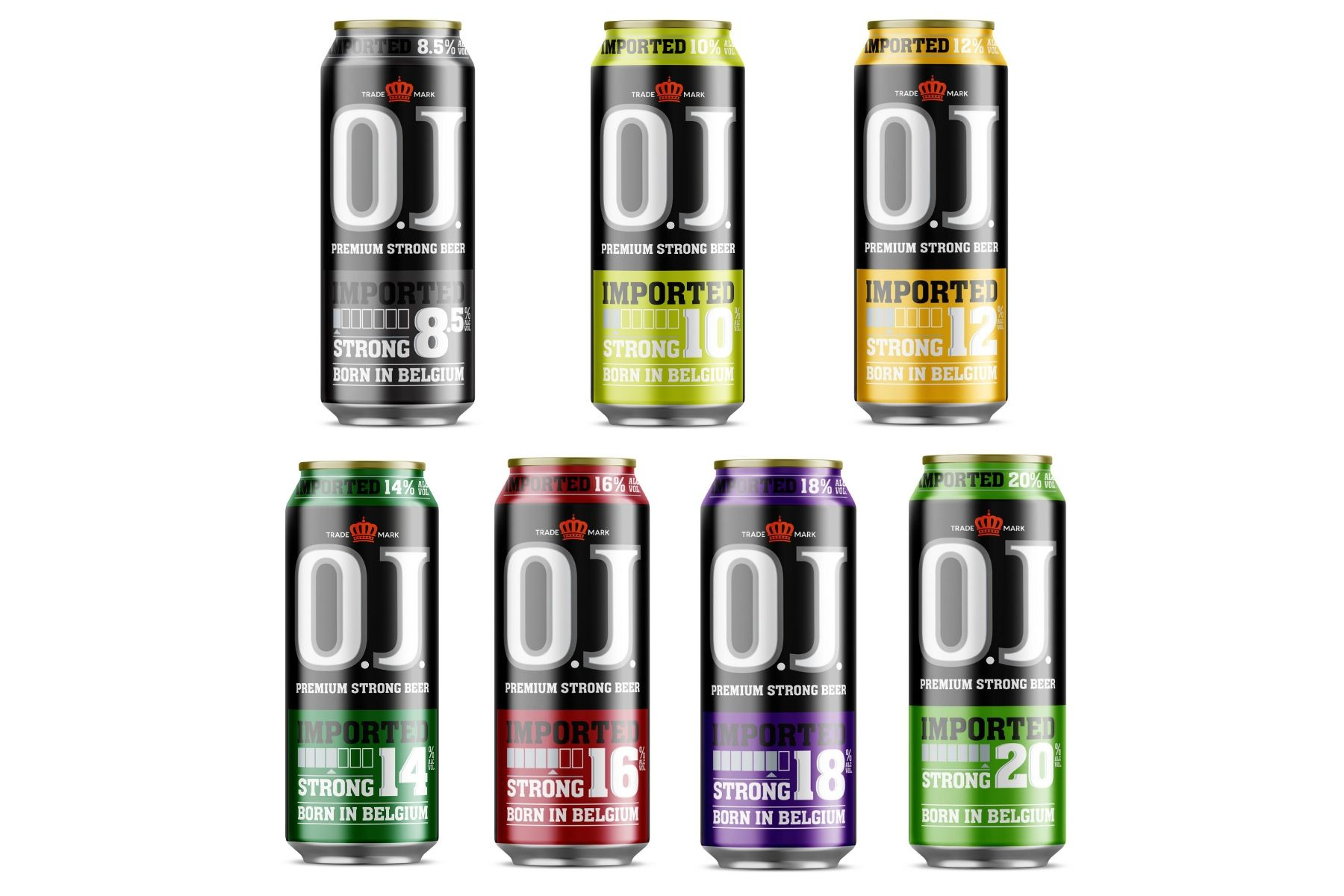 Become a distributor of O.J. Strong Beer. A series of strong tasting, full bodied lagers, ranging from 4% to 20%. 24 cans x 500ml. Premium European quality beer