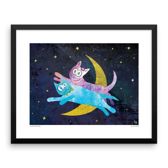 """""""Cat Lovers Over The Moon"""" Framed Art Print"""